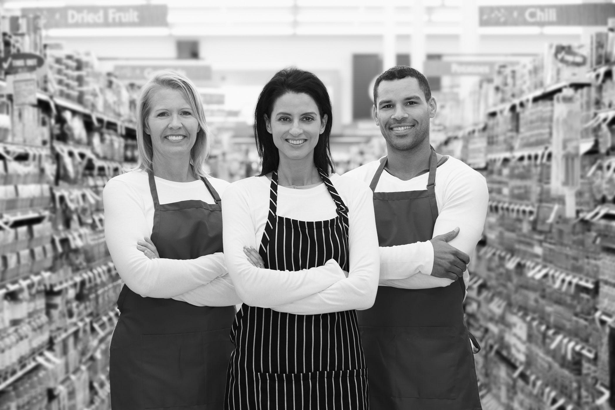 Three merchants in store